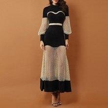 فستان أسود مثير بشبكة شفافة ستايل عصري