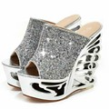 Sexy Vogue Ultra High Heels Slippers 2016 Glitter Peep Toe Butterfly Frework Wedges Shoes Women Summer Slides Platform Sandals
