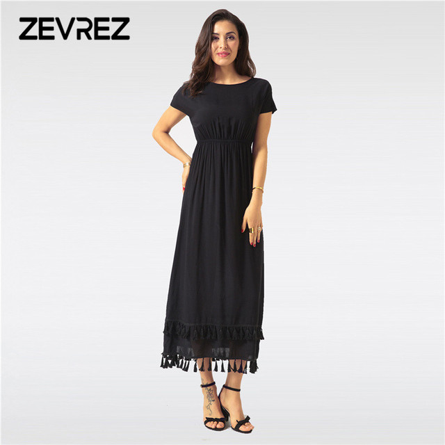 Elegant Women Black Long Dress Summer Sexy Tassel O Neck Short