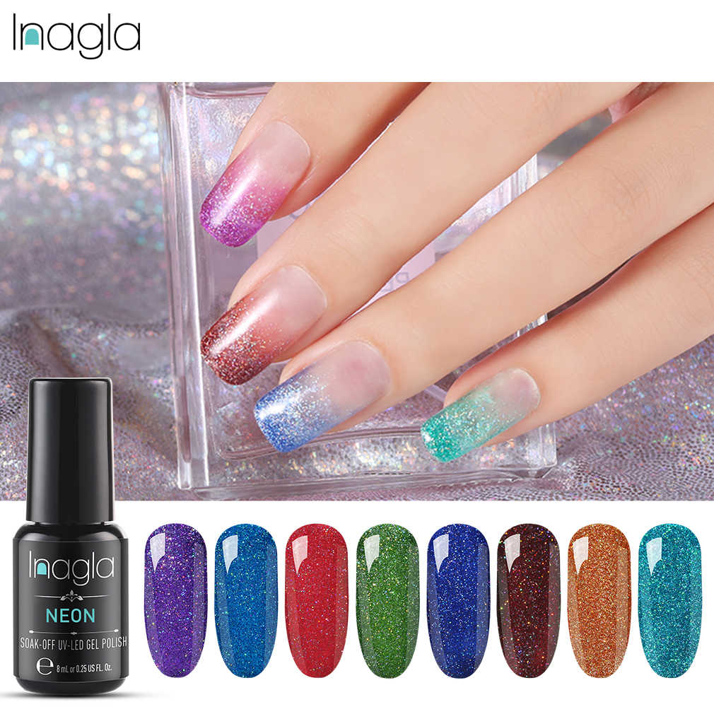 Inagla 8ML Neon renkli jel tırnak ojesi tırnak sanat tasarımı için kapalı islatın vernik Gelpolish jel vernik kapalı islatın UV Led tırnak sanat cila
