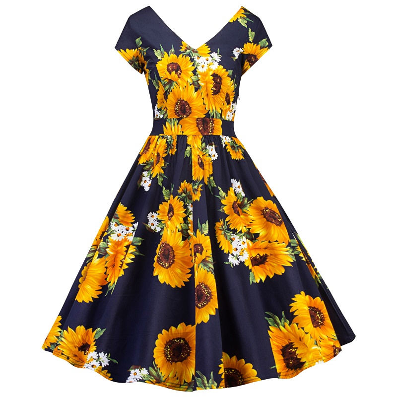 Frank Floral Print Summer Dress Women 2018 Sleeveless V Collar Tunic Vintage Dress Girls Dresses 15-20y Teen Girl Party Dress To Win A High Admiration And Is Widely Trusted At Home And Abroad. Mother & Kids