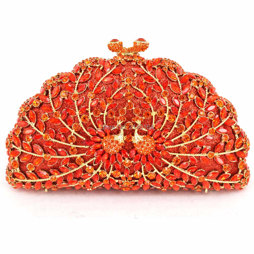 Diamond red and small Crystal orange peacock evening bag Studded Bag Yellow  Stylish Prom Bag Women f5765768874a