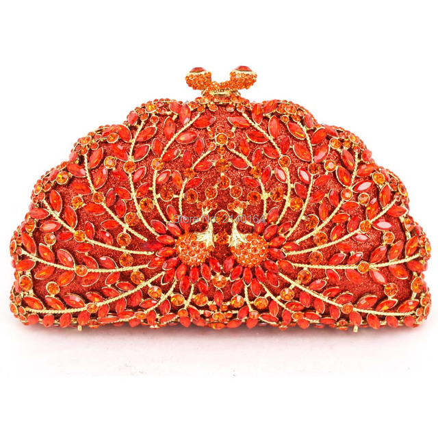 8165cf9a24 US $54.5 50% OFF|Diamond red and small Crystal orange peacock evening bag  Studded Bag Yellow Stylish Prom Bag Women Wedding Party Purse 88162-in ...