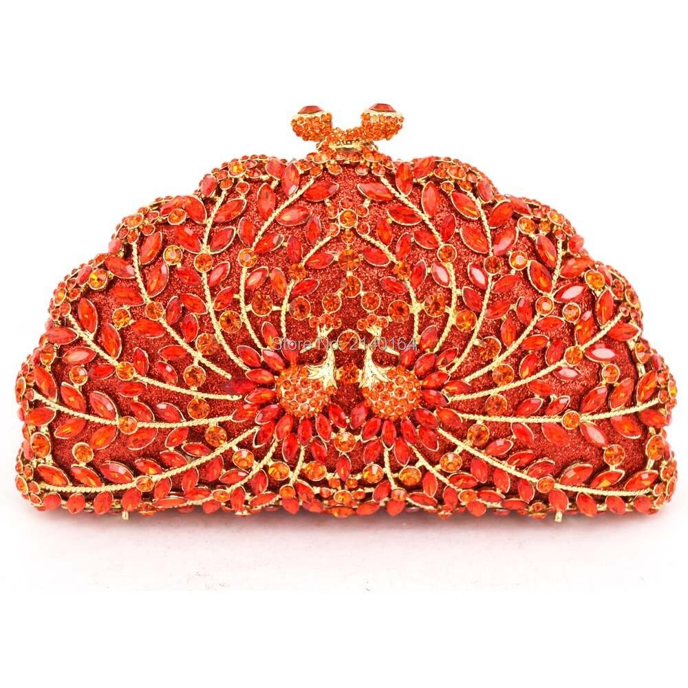 Gran diamante rojo y pequeño cristal orange peacock bolsa de noche tachonado Bol