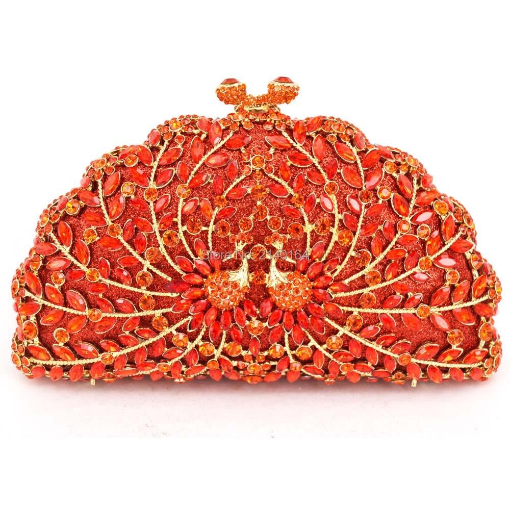 big diamond red and small Crystal orange peacock evening bag Studded Bag Yellow Stylish Prom Bag Women Wedding Party Purse 88162 игрушка ecx torment red orange ecx01001t2