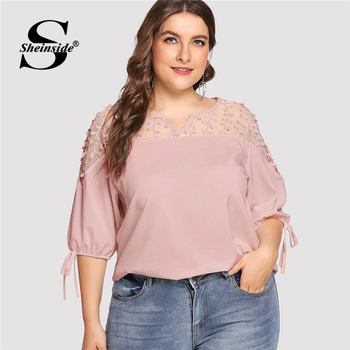 Sheinside Plus Size Pink Contrast Mesh Knot Cuff Blouse Summer Tops for Women 2019 V neck Half Sleeve Elegant Office Blouses