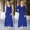 Мать невесты платья горячая распродажа Новый стиль 2016 шифон спасибо королевский синий с курткой вечернее платье Большой размер