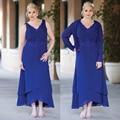Hot venda nova do estilo 2016 Chiffon azul mãe de vestidos de noiva com jaqueta de baile vestido Plus Size