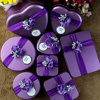 20pcs Creative wedding candy box style wedding gift wholesale candy box tin tin purple wedding supplies