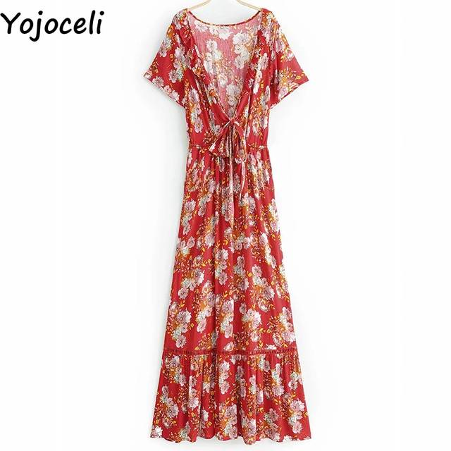 d5e6c18cd1a82 Yojoceli Sexy bow floral print maxi dress women Summer boho beach red long  dress female vestidos Spring casual daily dress