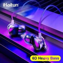 Ihaitun 6D in 耳イヤホン低音サウンドヘッドフォン6Dためサラウンドサウンドヘッドセットxiaomiサムスンhuawei社の携帯電話