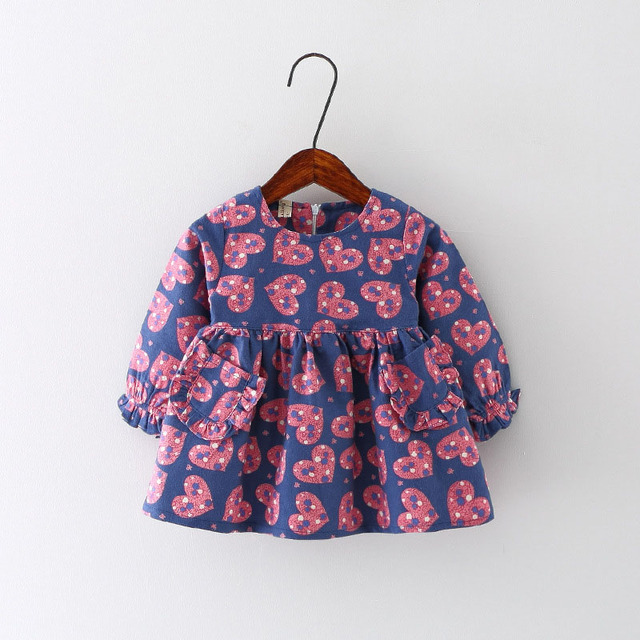 New Year Baby Girls Dress Autumn And Spring Fashion Design Love Printing Girl Dress With 2 Pockets Bebe Chrismas Party Clothes