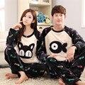 2017 Nueva Pijamas Hombre Mujer Parejas Pijamas de Franela Pijamas Familia Equipado Gatos Y Peces de Dibujos Animados Pijamas Siameses Primavera