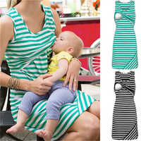 Casual Stripe Maternity Dresses Nursing Breastfeeding Clothes Summer Sleeveless Loose Short Women Nursing Tops Dress Plus Size