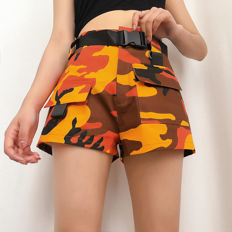 WKOUD Camouflage Harajuku High Waist Shorts Women Print Camo Cargo Short Pants With Belt Slim Summer Shorts Pants DK6048