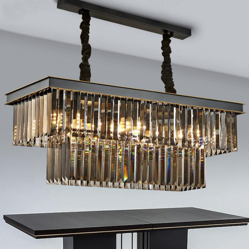American Classic Crystal Glass Tube LED Pendant Lamp Light Rectangular Square Foyer Living Dining Room Ceiling Hanging Lamp