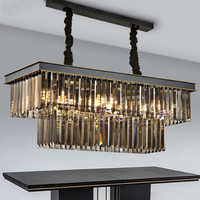 Amerikanischen klassische kristall glas rohr LED anhänger lampe licht rechteckigen platz foyer wohnzimmer esszimmer decke hängen lampe