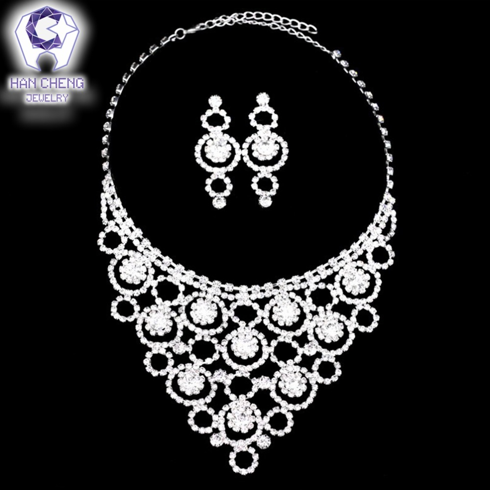 HanCheng Fashion Luxury Noble Wedding Jewelry Hollow Flowers Rhinestone Necklace Silver Plated Bride Set Wedding Jewelry Parures