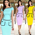 2016 Summer Aliexpress European American Women Dresses Star With Pocket Stitching Color Pencil Dress Blue Yellow Purple