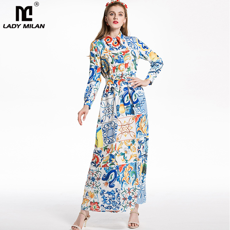 New Arrival 2018 Womens Turn Down Collar Long Sleeves Printed Floral Sash Bow Detailing Fashion Long Casual Runway Dresses