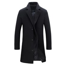 Mens Trench Coat 2018 New Fashion Lengthened Simple Luxury Wool Winter Single Breasted Windproof Slim Men 5XL