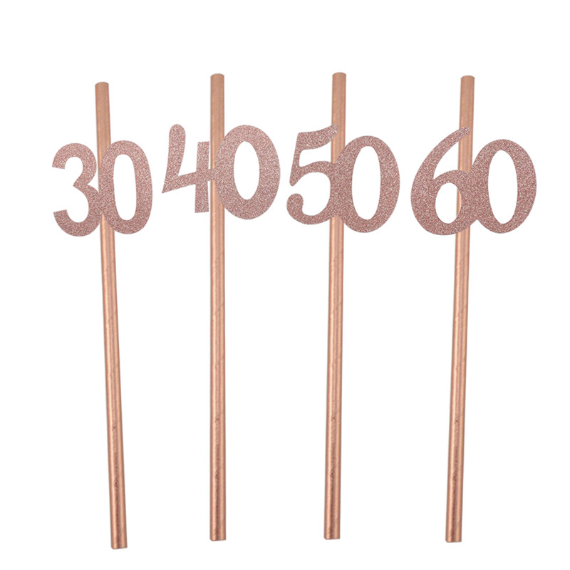 Image 5 - Chicinlife 10pcs Paper Straw With number 30 40 50 60 Drink Straw For Birthday/Wedding Anniversary Birthday Party Decoration-in Disposable Party Tableware from Home & Garden