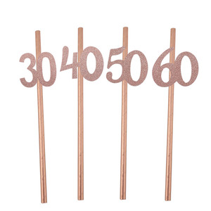 Image 5 - Chicinlife 10pcs Paper Straw With number 30 40 50 60 Drink Straw For Birthday/Wedding Anniversary Birthday Party Decoration