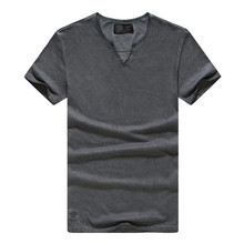 GustOmerD 2017 Fashion New Summer T shirts Solid Color V-neck Tops Tees Slim Fit Men Casual Brand Clothes Mens Grey T shirts