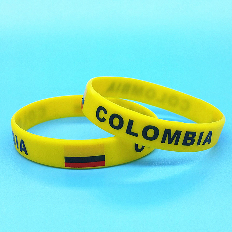 100pcs Colombia Flag Logo Silicone Bracelet Men Sports Wristband World Country ID Wrist Strap Rubber Bangle