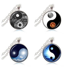 Yin Yang Sun and Moon Pendant Necklace Tai Chi Jewelry Glass Cabochon Long Statement Chain Necklace for Women Men Accessory