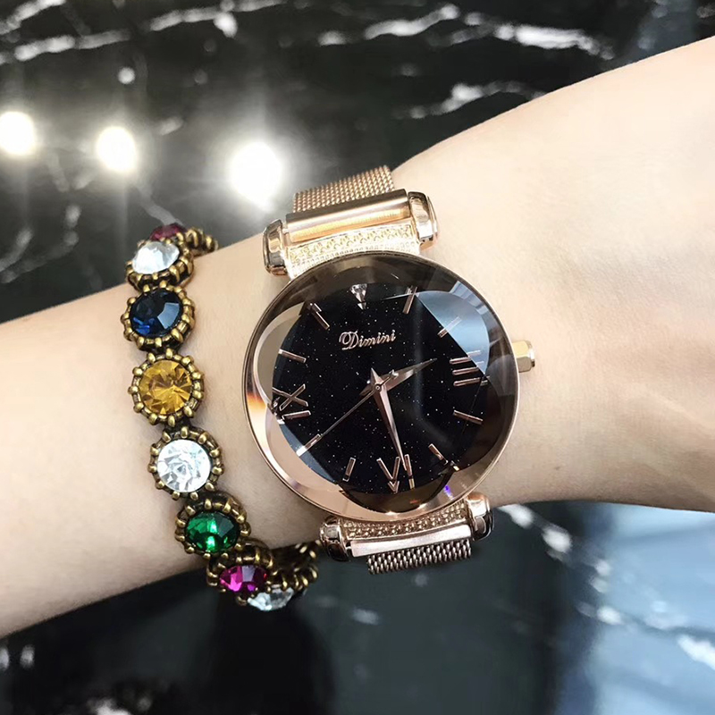 Watches Fashion Women Stainless Steel Mesh Analog Quartz Wrist Watch Dress Ladies Womens Golden Bracelet Watch Montre Femme 2019 Luxe