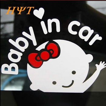3D Cartoon Car Stickers Reflective Vinyl Styling Baby In Car Warming Car Sticker Baby on Board for Toyota Chevrolet Volkswagen~ image