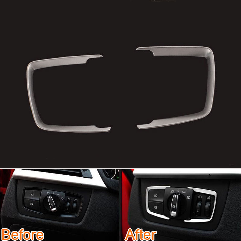 Car interior Head light Lamp Switch Button Cover Trim Sticker Fit For Bmw 3 Series F30 316i GT 320li 2/4 Series 13-2015