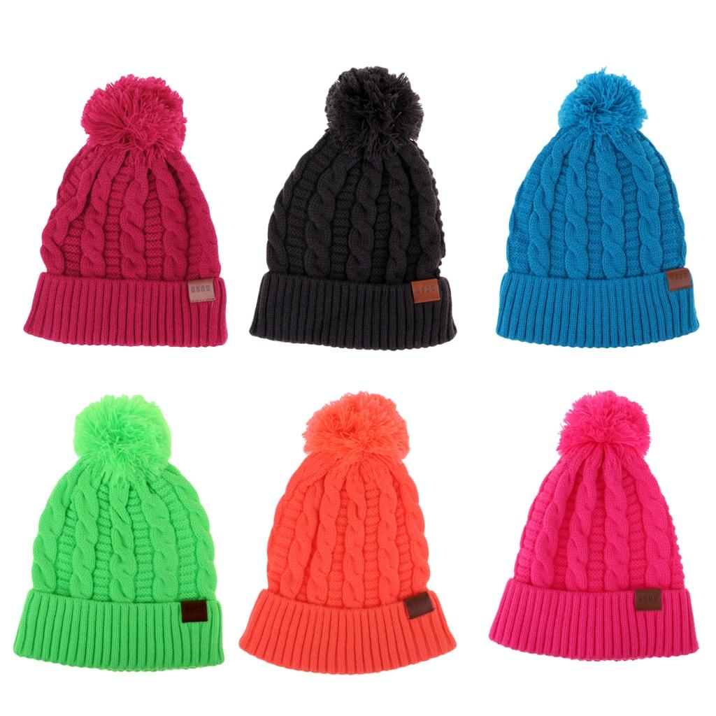 8139976e1e897b Women Men Winter Knit Hat Beanie Snowboarding Skateboard Pom Knitted Cap  with Warm Fleece Lining Skull