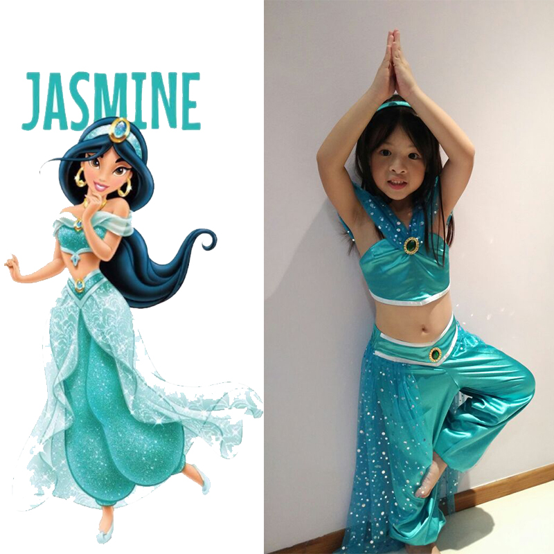 Aladdin Magic Lamp Princess Jasmine Cosplay Costume Halloween Party Carnival Hot Sell Belly Dance Dress For Adult And Kids