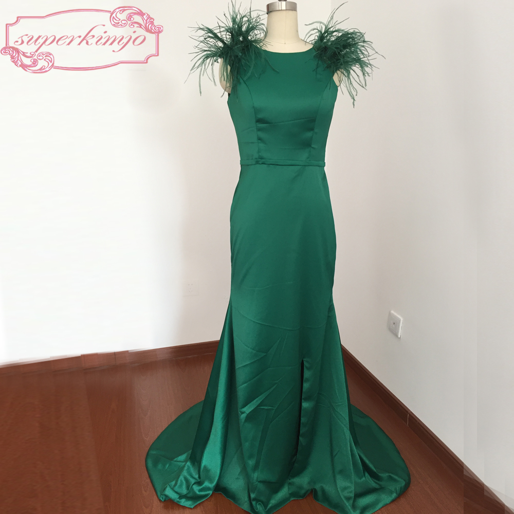 Actual Image Evening Dresses Gowns Backless Crew Neckline Feather Beading Lace Appliques Mermaid Green Prom Dresses Real Picture