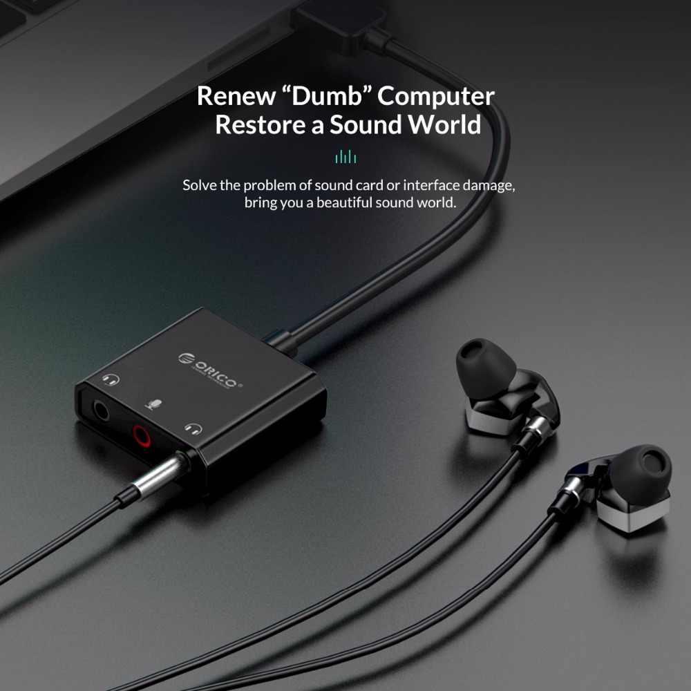 ORICO USB внешняя звуковая карта USB для наушников аудио Интерфейс 3-в-1 для Windows/Mac OS/Linux микрофон звуковая карта