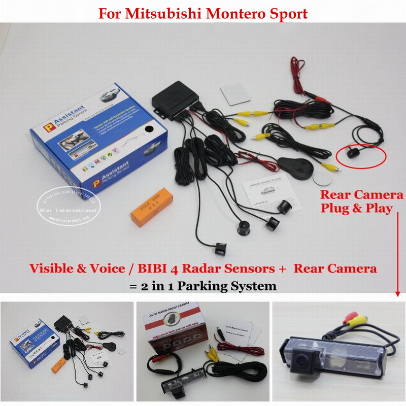 ФОТО For Mitsubishi Montero Sport - Car Parking Sensors + Rear View Back Up Camera = 2 in 1 Visual / BIBI Alarm Parking System