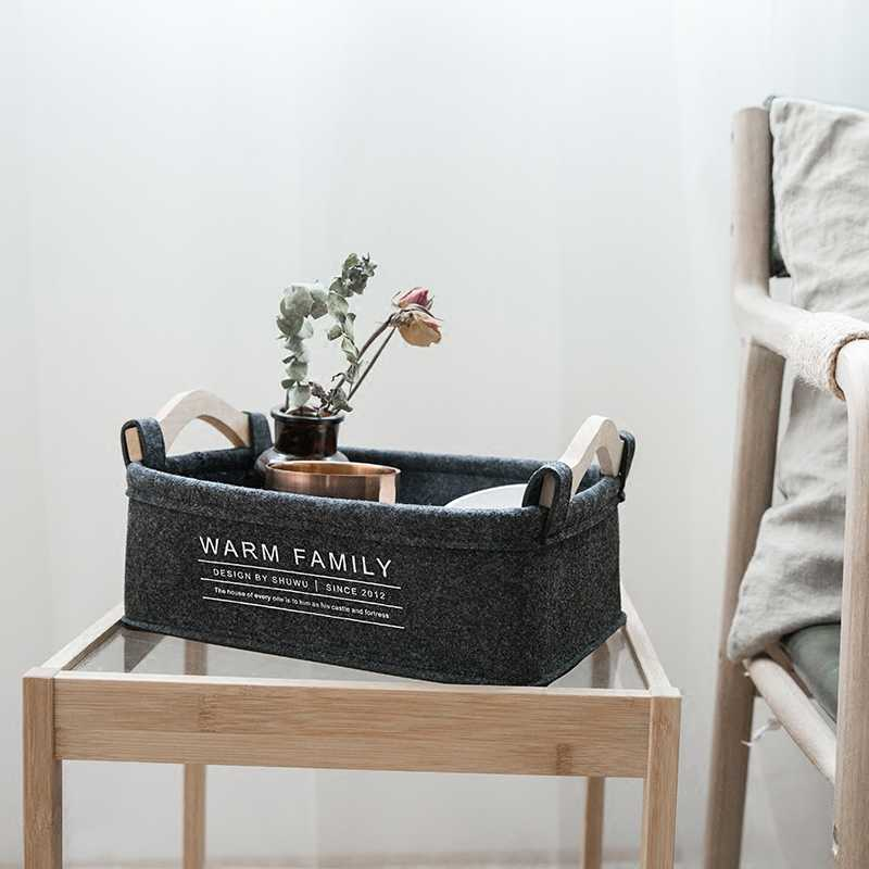 Original Felt Storage Basket with Handle Desktop Fabric Simple Fresh Storage Bag Clothing Sundries Storage