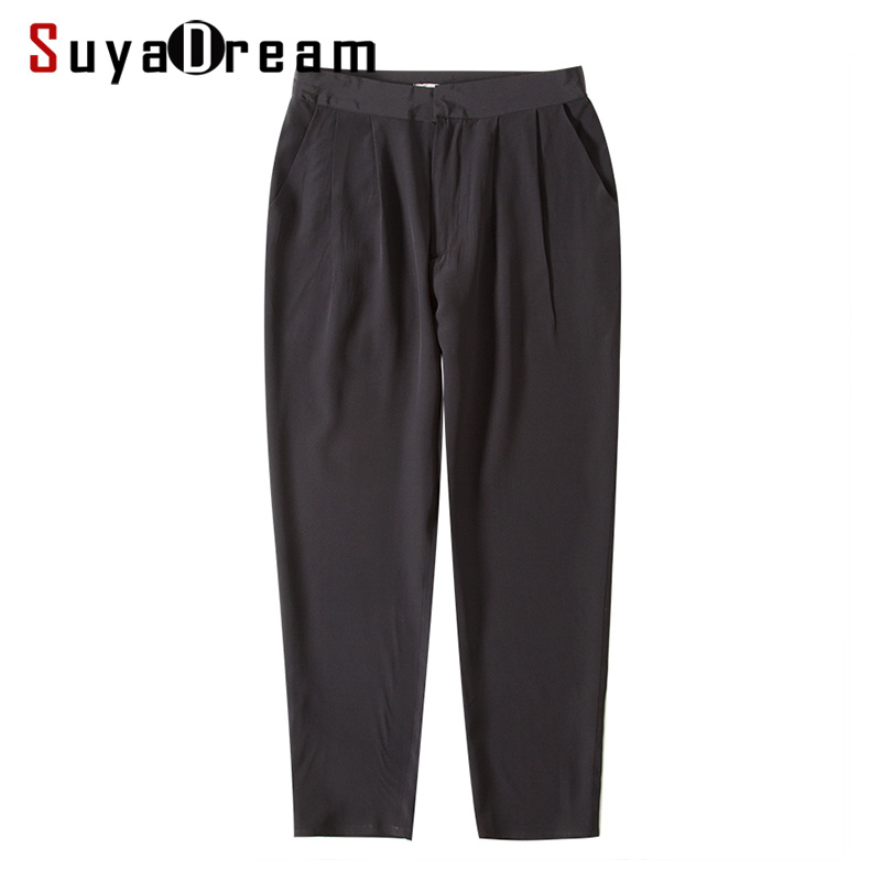 Women Harem Pants 100%Real Silk Crepe Solid Black High Waisted Pants OL Calf-Length Pants 2019 Office Lady Spring Summer New