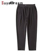 Women Harem Pants 100%Real Silk Crepe Solid Black High Waist