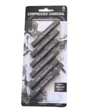 Профессиональные 6 штук темно Черные Карандаши уголь для скетчей бар палка художника для картина маслом художника Поставки