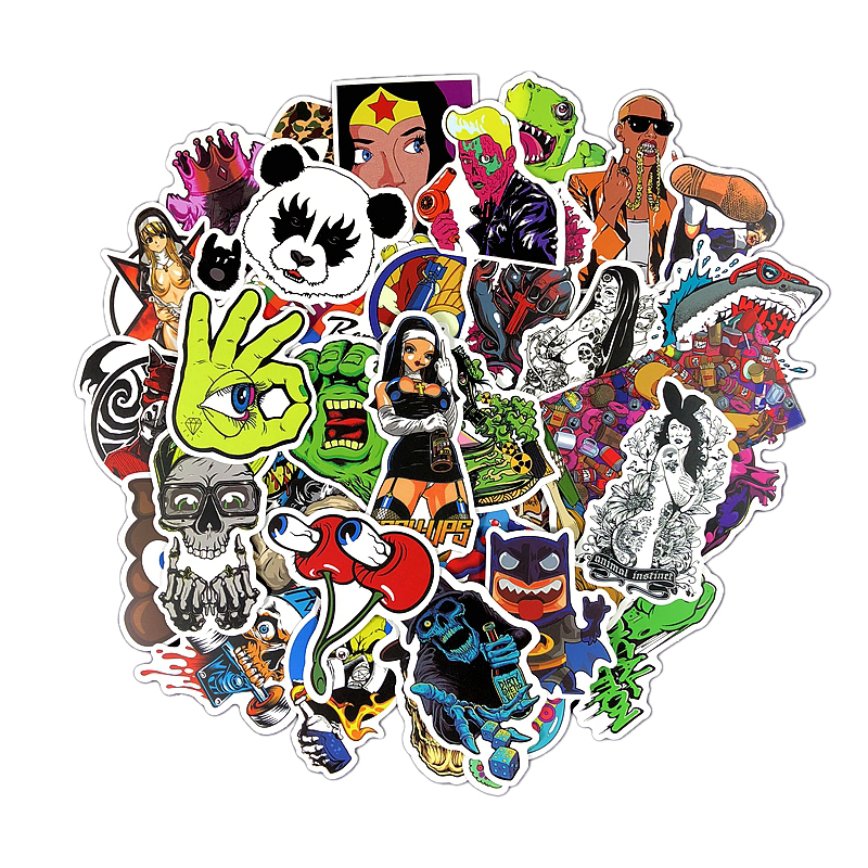 50 Pieces PVC Waterproof Graffiti Decal Toys Sticker For Luggage Laptop Bike Car Motorcycle Phone Snowboard Doodle Cool Stickers