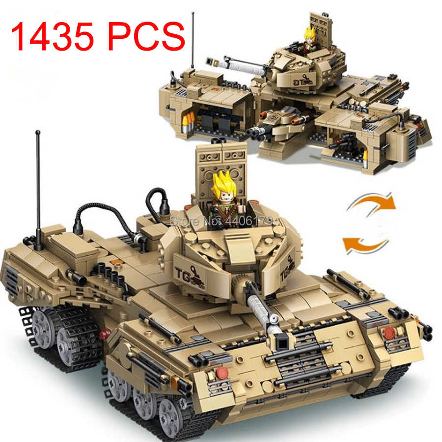 compatible LegoINGlys military WW2 2in1 army Deformation tank war Building Blocks mini soldier figures bricks toys for children