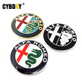 2pcs Black white New 74mm 7.4cm ALFA ROMEO Car Logo emblem Badge sticker for ALFA ROMEO Mito 147 156 159 166 Giulietta Spider GT