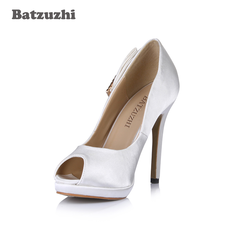 Batzuzhi 2018 New Design Women Shoes Peep Toe White Leather High Heel Shoes for Women Wedding and Party Zapatos Mujer party suede and stiletto heel design peep toe shoes for women