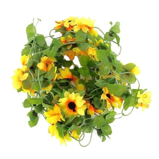 1 16 15 De Reduction Boutique De Tournesol Vigne Fleur Artificielle Guirlande Decoration Pour Le Jardin De Mariage Maison Partie Celebration