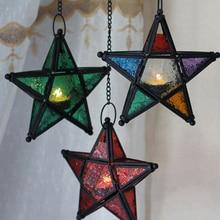 Металлический подвесной подсвечник со звездой и стеклянным фонариком для декоративной свадебной вечеринки, украшения дома, дня рождения