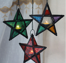 Metal Star Glass Lantern Hanging Candle Holder for Decorative Wedding Party Home Decoration Birthday