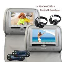 Grey Beige Black 2 X 7 Car Headrest Cd DVD Player Twin HD Digital Screen 32